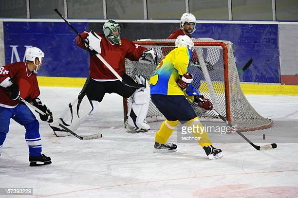 chance for goal - ice hockey stick stock pictures, royalty-free photos & images