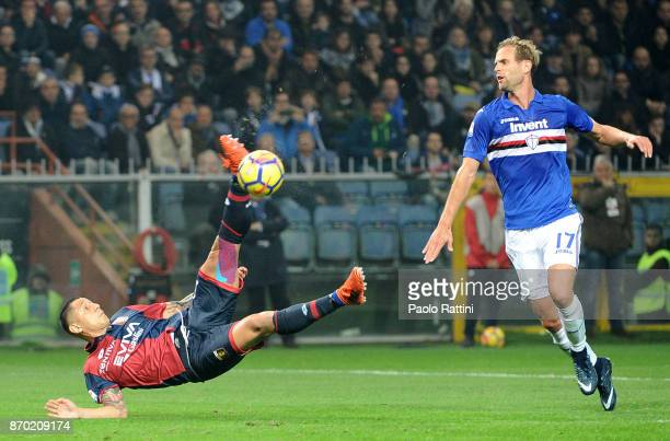 Chance goal by Gianluca Lapadula of Genoa during the Serie A match between Genoa CFC and UC Sampdoria at Stadio Luigi Ferraris on November 4 2017 in...