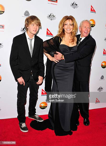 Chance Hogan Linda Kozlowski and actor Paul Hogan arrive for the G'Day USA Black Tie Gala held at at the JW Marriot at LA Live on January 12 2013 in...