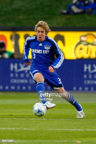 Chance Myers of the Kansas City Wizards dribbles against the Houston Dynamo during the game at Community America Ballpark on April 12 2008 in Kansas...