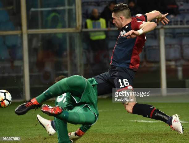 Chance of goal for Andrey Galabinov of Genoa during the serie A match between Genoa CFC and AC Milan at Stadio Luigi Ferraris on March 11 2018 in...