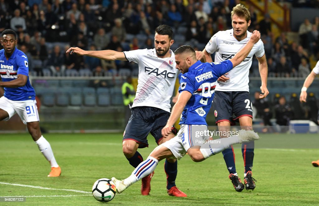 Chance of goal for Gianluca Caprari of Sampdoria during the serie A match between UC Sampdoria and Bologna FC at Stadio Luigi Ferraris on April 18, 2018 in Genoa, Italy.