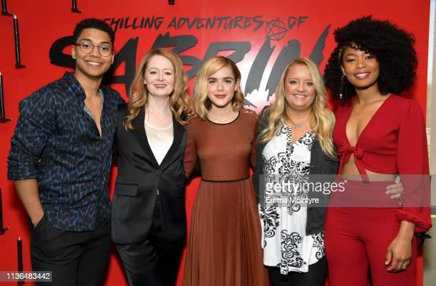 Chance Perdomo Miranda Otto Kiernan Shipka Lucy Davis and Jaz Sinclair attend Netflix's The Chilling Adventures of Sabrina QA and Reception at the...