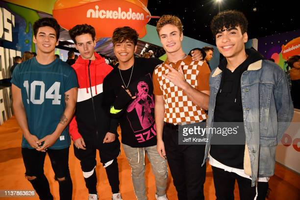 Chance Perez Michael Conor Sergio Calderon Brady Tutton and Drew Ramos of In Real Life attend Nickelodeon's 2019 Kids' Choice Awards at Galen Center...