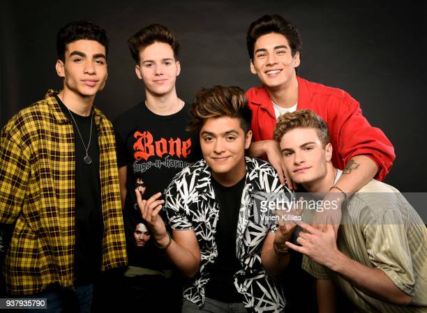 Chance Perez Michael Conor Sergio Calderon Drew Ramos and Brady Tutton of the band In Real Life attend ipsy Gen Beauty at the Los Angeles Convention...