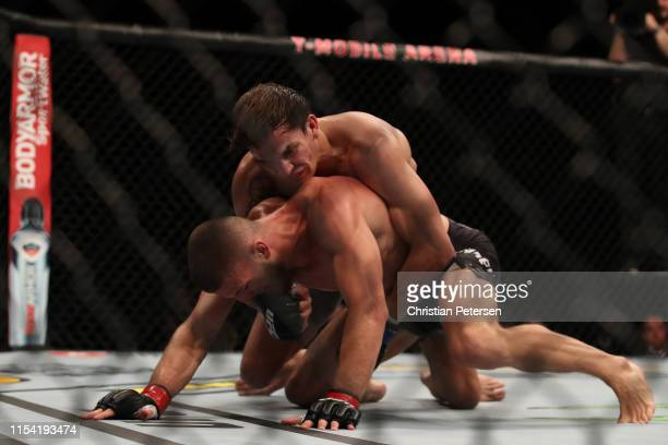 Chance Rencountre and Ismail Naurdiev of Austria grapple in their welterweight fight during the UFC 239 event at TMobile Arena on July 6 2019 in Las...