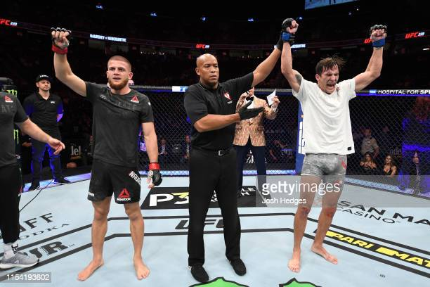 Chance Rencountre celebrates his win against Ismail Naurdiev of Austria in their welterweight fight during the UFC 239 event at TMobile Arena on July...