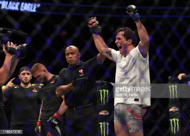 Chance Rencountre reacts to defeating Ismail Naurdiev of Austria during their Welterweight bout at TMobile Arena on July 06 2019 in Las Vegas Nevada