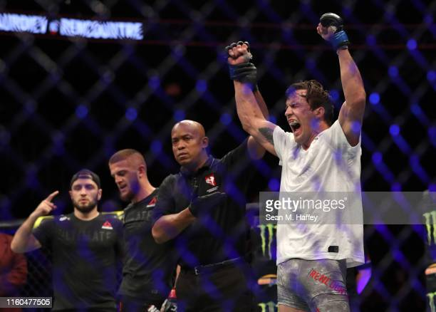 Chance Rencountre reacts to defeating Ismail Naurdiev of Austria during their UFC239 Welterweight bout at TMobile Arena on July 06 2019 in Las Vegas...