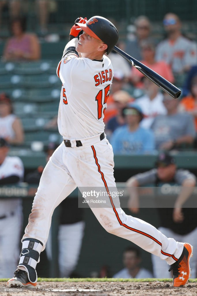 Chance Sisco #15 of the Baltimore Orioles hits a three-run home run against the Tampa Bay Rays in the ninth inning during a Grapefruit League spring training game at Ed Smith Stadium on February 23, 2018 in Sarasota, Florida. The Rays won 6-3.