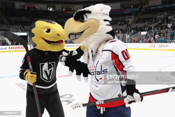 Chance the Gila Monster of the Vegas Golden Knights and Slapshot of the Washington Capitals participate in the 2019 NHL AllStar Mascot Showdown at...