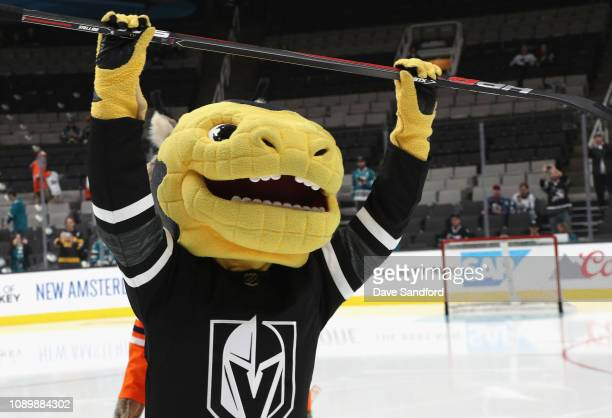 Chance the Gila Monster of the Vegas Golden Knights participates in the 2019 NHL AllStar Mascot Showdown at the SAP Center on January 24 2019 in San...