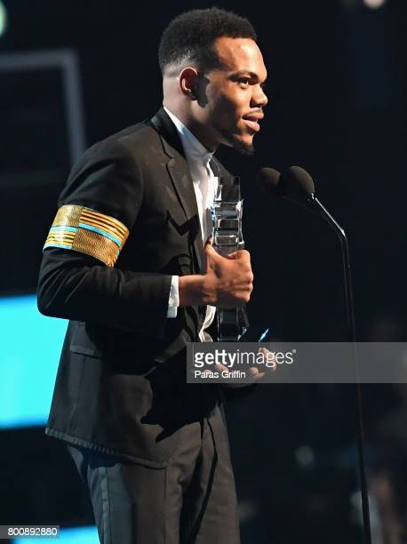 Chance The Rapper accepts the Humanitarian Award onstage at 2017 BET Awards at Microsoft Theater on June 25 2017 in Los Angeles California