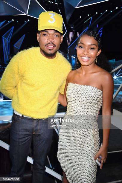 Chance the Rapper and actor Yara Shahidi attend the 2017 MTV Video Music Awards at The Forum on August 27 2017 in Inglewood California