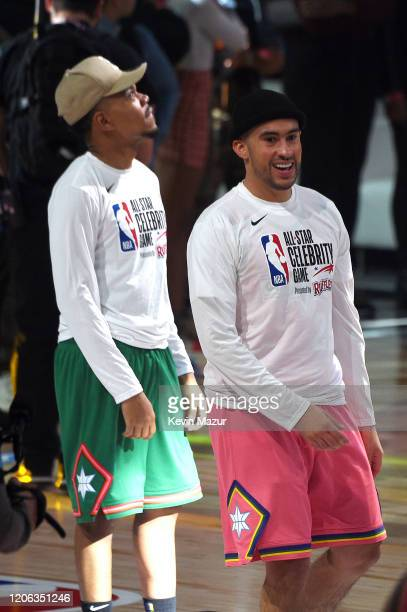 Chance the Rapper and Bad Bunny attend the NBA AllStar Celebrity Game 2020 Presented By Ruffles at Wintrust Arena on February 14 2020 in Chicago...