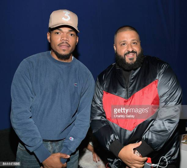 Chance the Rapper and DJ Khaled attend XQ Super School Live presented by EIF at Barker Hangar on September 8 2017 in Santa California