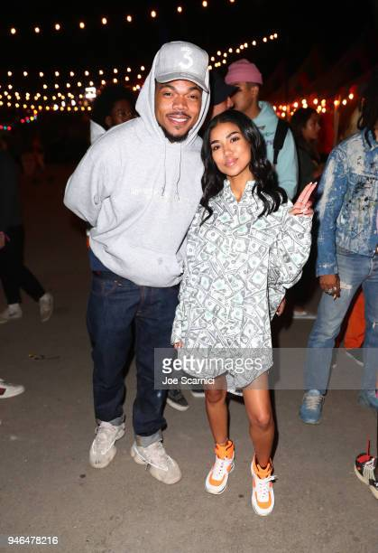 Chance The Rapper and Jhene Aiko attends The Levi's Brand Presents NEON CARNIVAL with Tequila Don Julio on April 14 2018 in Thermal California