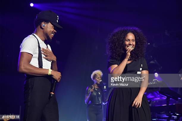 Chance the Rapper and Keep A Child Alive cofounder and singer Alicia Keys perform onstage during Keep A Child Alive's Black Ball 2016 at Hammerstein...