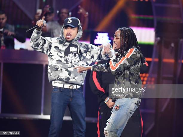 Chance the Rapper and Quavo of Migos perform onstage during the 2017 iHeartRadio Music Festival at TMobile Arena on September 23 2017 in Las Vegas...