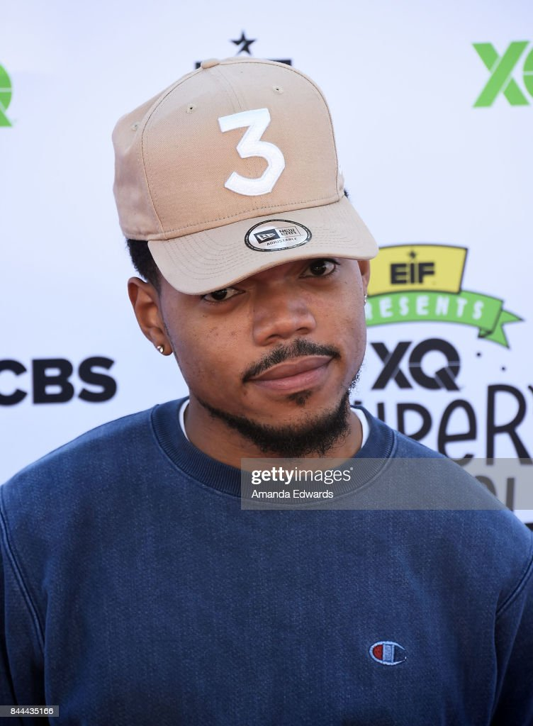 Chance the Rapper arrives at the EIF Presents: XQ Super School Live event at The Barker Hanger on September 8, 2017 in Santa Monica, California.