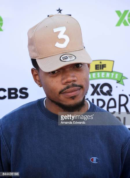 Chance the Rapper arrives at the EIF Presents XQ Super School Live event at The Barker Hanger on September 8 2017 in Santa Monica California