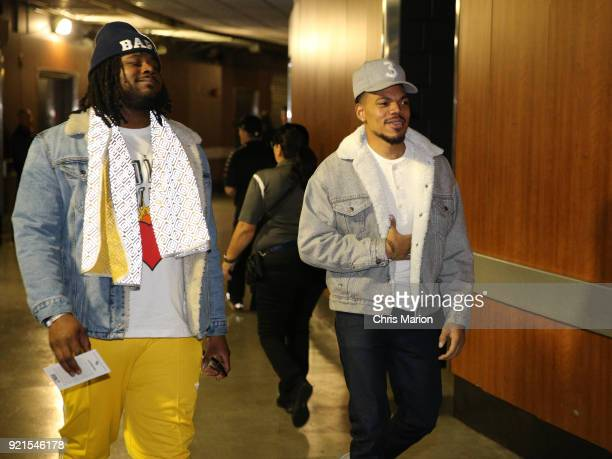 Chance the Rapper arrives to the arena during the NBA AllStar Game as a part of 2018 NBA AllStar Weekend at STAPLES Center on February 18 2018 in Los...