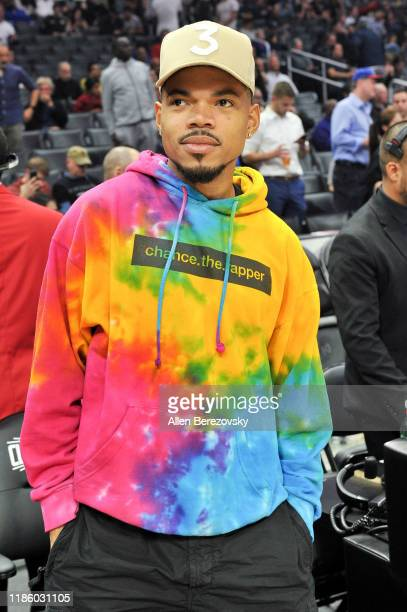 Chance the Rapper attends a basketball game between the Los Angeles Clippers and the Milwaukee Bucks at Staples Center on November 06, 2019 in Los...