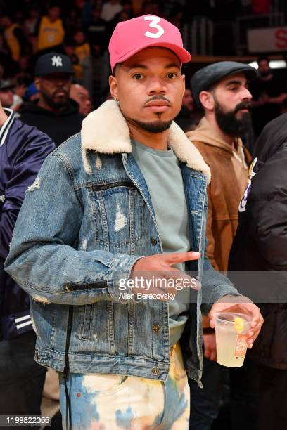 Chance the Rapper attends a basketball game between the Los Angeles Lakers and the Orlando Magic at Staples Center on January 15 2020 in Los Angeles...