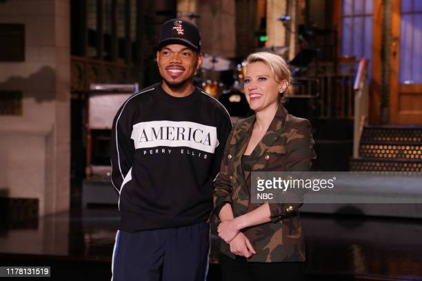 """Chance The Rapper"""" Episode 1771 -- Pictured: Host Chance The Rapper and Kate McKinnon during Promos in Studio 8H on Thursday, October 24, 2019 --"""