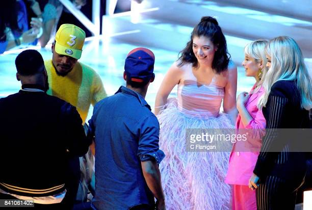 Chance the Rapper, Jack Antonoff and Lorde are seen during the 2017 MTV Video Music Awards at The Forum on August 27, 2017 in Inglewood, California.