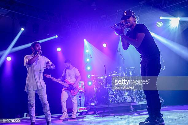 Chance the Rapper joins Miguel during Miguel's performance during the Bonnaroo Music Arts Festival on June 11 2016 in Manchester Tennessee