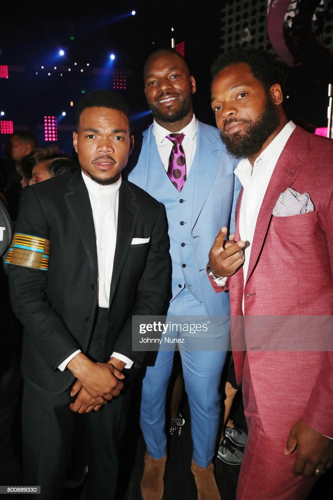 Chance the Rapper, Martellus Bennett, and Michael Bennett at 2017 BET Awards at Microsoft Theater on June 25, 2017 in Los Angeles, California.