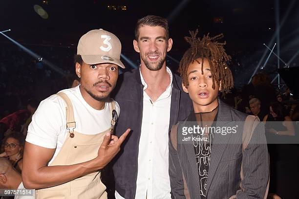 Chance the Rapper Michael Phelps and Jaden Smith attend the 2016 MTV Video Music Awards at Madison Square Garden on August 28 2016 in New York City