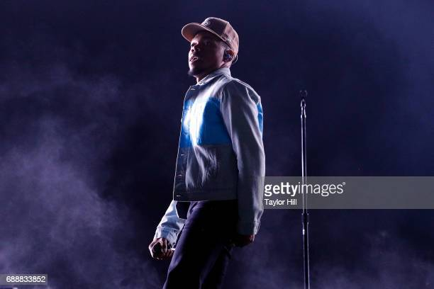 Chance the Rapper performs during the 2017 Boston Calling Music Festival at Harvard Athletic Complex on May 26 2017 in Boston Massachusetts