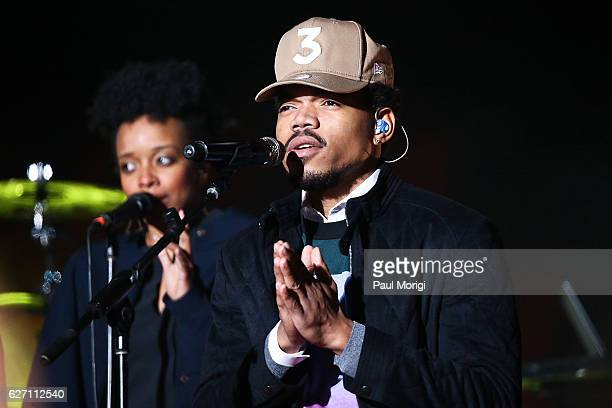 Chance the Rapper performs during the 94th Annual National Christmas Tree Lighting Ceremony on the Ellipse in President's Park on December 1 2016 in...