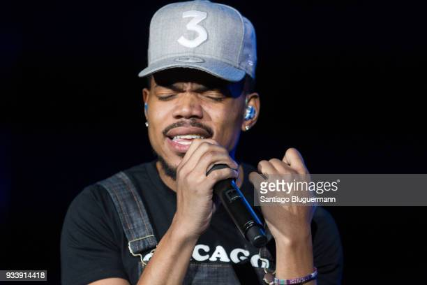 Chance The Rapper performs during the first day of Lollapalooza Buenos Aires 2018 at Hipodromo de San Isidro on March 16 2018 in Buenos Aires...