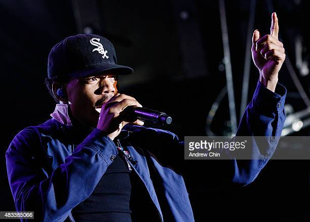 Chance the Rapper performs onstage during Day 1 of Squamish Valley Music Festival on August 7 2015 in Squamish Canada