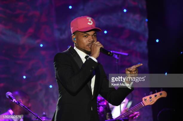 """Chance the Rapper performs onstage during the Pre-GRAMMY Gala and GRAMMY Salute to Industry Icons Honoring Sean """"Diddy"""" Combs on January 25, 2020 in..."""