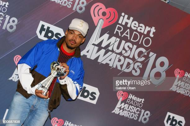 Chance the Rapper recipient of the Innovator Award poses in the press room at The Forum on March 11 2018 in Inglewood California