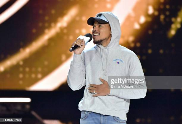 Chance The Rapper speaks onstage at WE Day California at The Forum on April 25 2019 in Inglewood California