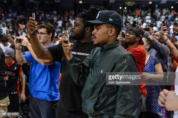 Chance the Rapper waits the entrance of 3's Company playercoach and captain Allen Iverson during a BIG3 Basketball game on July 23 at the UIC...
