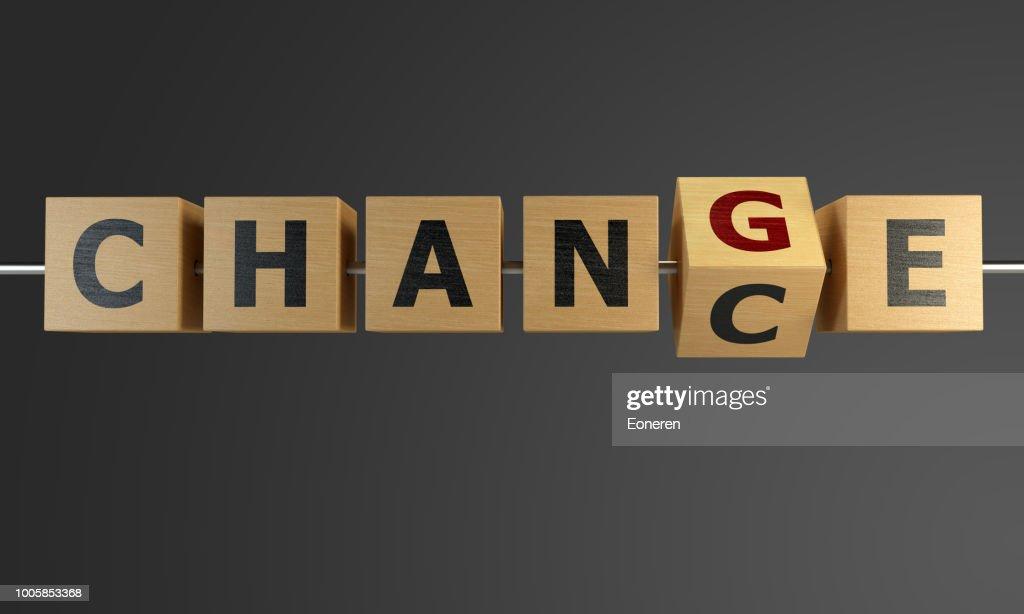 Chance zur Veränderung mit Würfel : Stock-Foto
