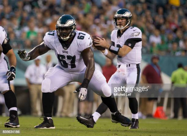 Chance Warmack of the Philadelphia Eagles blocks for Matt McGloin of the Philadelphia Eagles against the Buffalo Bills in the preseason game at...