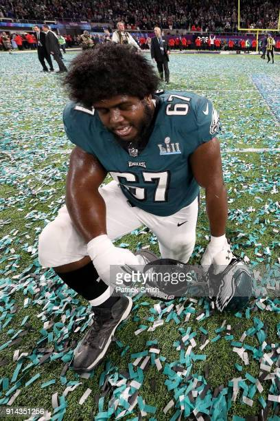 Chance Warmack of the Philadelphia Eagles celebrates after defeating the New England Patriots 4133 in Super Bowl LII at US Bank Stadium on February 4...