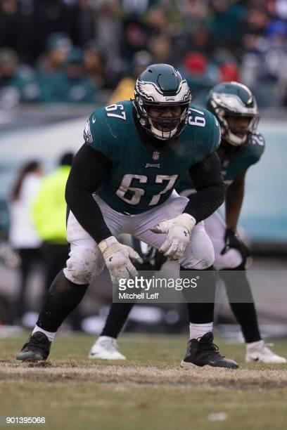 Chance Warmack of the Philadelphia Eagles in action against the Dallas Cowboys at Lincoln Financial Field on December 31 2017 in Philadelphia...