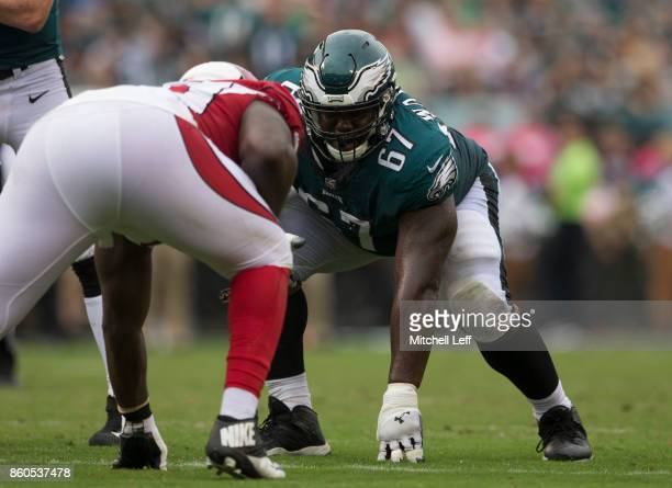 Chance Warmack of the Philadelphia Eagles plays against the Arizona Cardinals at Lincoln Financial Field on October 8 2017 in Philadelphia...
