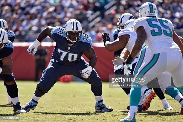 Chance Warmack of the Tennessee Titans plays against the Miami Dolphins during a game at Nissan Stadium on October 18 2015 in Nashville Tennessee