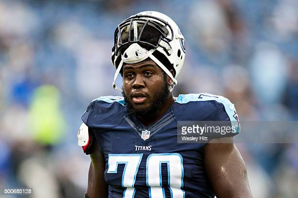 Chance Warmack of the Tennessee Titans warming up before a game against the Oakland Raiders at Nissan Stadium on November 29 2015 in Nashville...