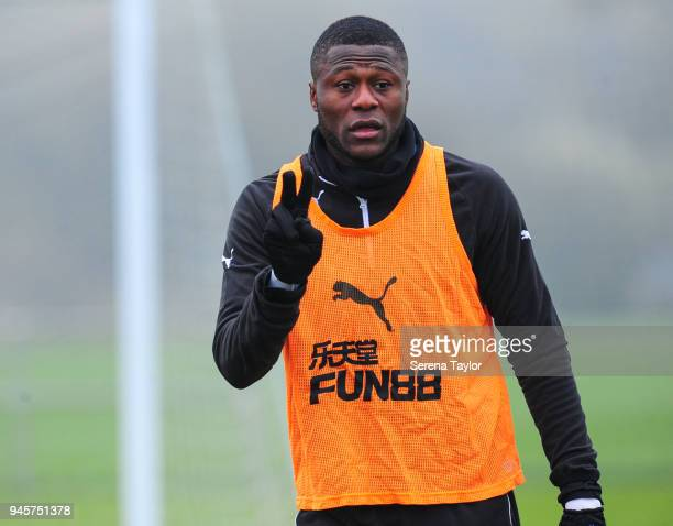 Chancel Mbemba during the Newcastle United Training Session at the Newcastle United Training Centre on April 13 in Newcastle upon Tyne England