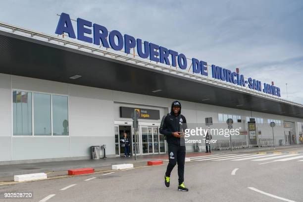 Chancel Mbemba of Newcastle arrive at Murcia Airport during warm weather training camp on March 15 in Alicante Spain